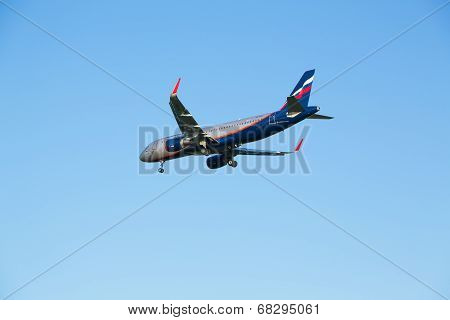 The airline Airbus A320 plane Aeroflot comes in the land at the Sheremetyevo airport