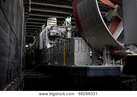 NEW YORK - MAY 22, 2014: The blades of the LCAC, air cushion landing craft, used to transport equipment and personnel, on the well deck of the USS Oak Hill (LSD 51) moored at Pier 92 for Fleet Week NY.