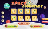Scifi space adventure game user interface template vector illustration poster