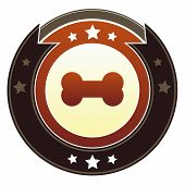Bone or pet icon on round red and brown imperial vector button with star accents suitable for use on website, in print and promotional materials, and for advertising. poster