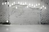 Old damaged brick wall with light bulbs poster