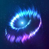 Blue shining cosmic neon light galaxy twirl poster