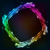 Rainbow colors shining neon lights vector frame poster