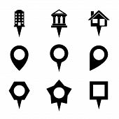 Landmark and Showplace Symbol Map pointer Mark Icons Vector Template Illustration poster