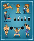 Magician with a row of rabbits in top hats with an animal trainer or lion tamer and strongman from a circus each showing three acts on a blue graduated background in a thin border  vector illustration poster