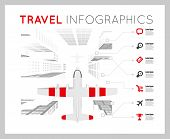 Plane over the city. Vector infographics illustration poster