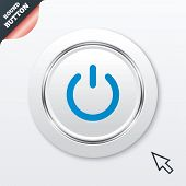 Power sign icon. Switch on symbol. Turn on energy. White button with metallic line. Modern UI website button with mouse cursor pointer. Vector poster