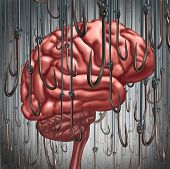 Addiction and dependency concept as a human brain being lured and surrounded by fishing hooks as a risk symbol and metaphor for a drug addict or the danger of alcoholism gambling and drug abuse smoking as a mental health problem. poster