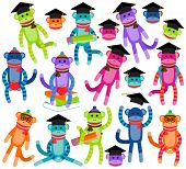 Vector Collection of Brightly Colored School and Graduation Themed Sock Monkeys poster