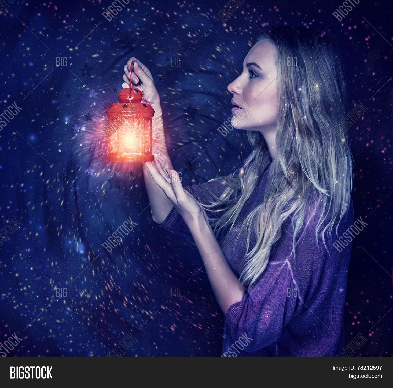 Beautiful Woman Magic Lantern On Image  for Girl Holding Lamp  45hul