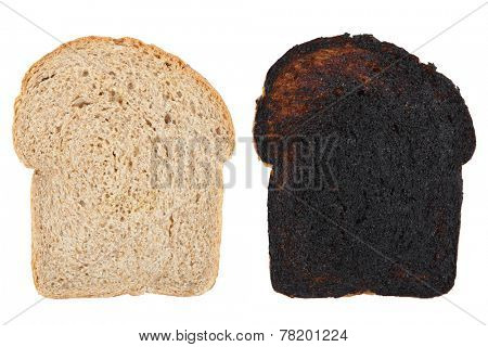 Slices of wheat bread before and after being burned