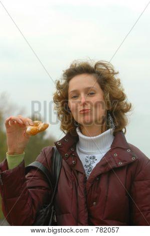 Cute girl with doughnut