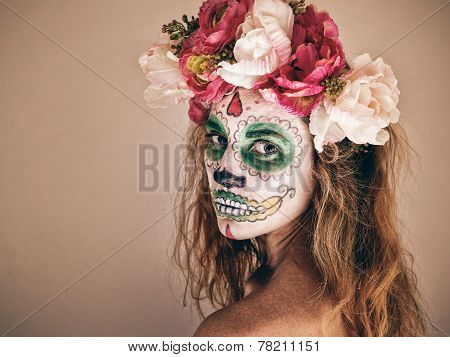 Portrait Of Woman With Scary Halloween Makeup.
