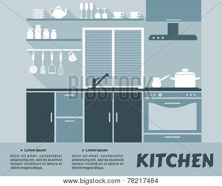 Modular kitchen interior in flat design