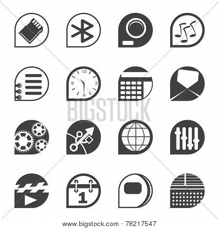 Silhouette Mobile phone  performance, internet and office icons