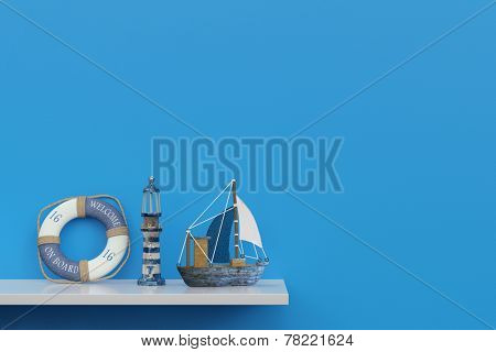 Maritime souvenirs of a cruise on a shelf in front of a blue wall (3D Rendering)