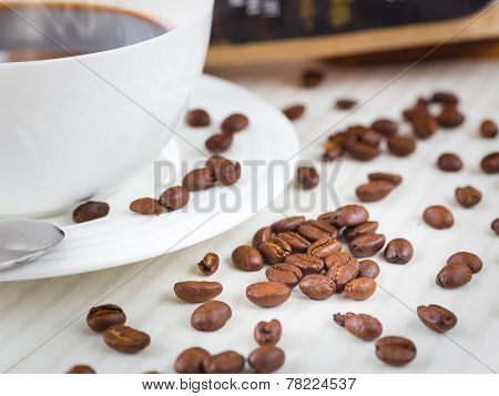 Coffee and coffee beans.