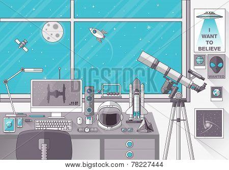 Space Lover Flat Design Illustration