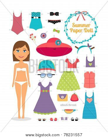 Summer paper doll. Girl with dress and hat