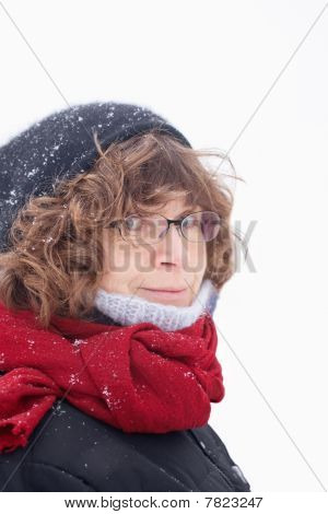 Mature Woman In Winter Clothes Looking At You