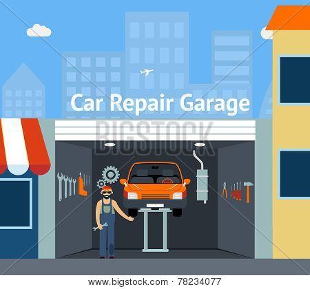 Cartooned Car Repair Garage