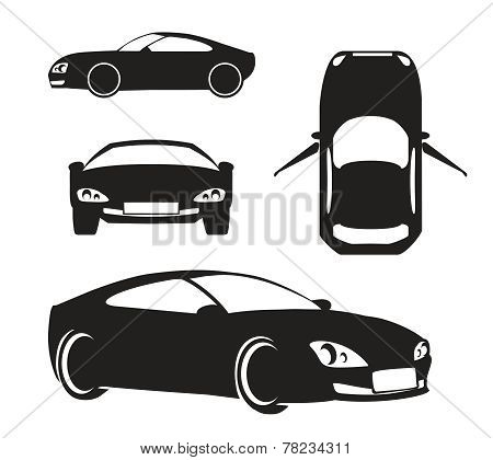 Vector Silhouette Car Isolated on White