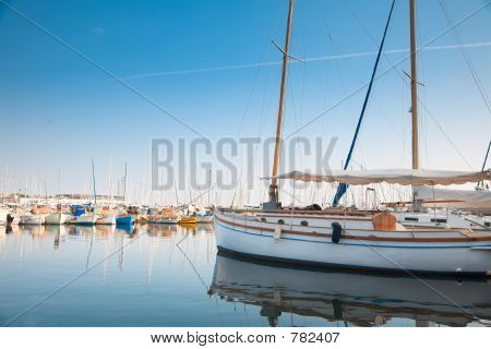 Yacht and fishing boats in Cannes, France