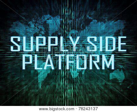 Supply Side Platform text concept on green digital world map background poster