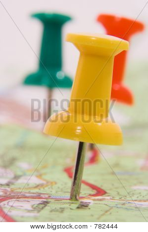 Pushpins marking a route