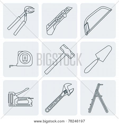 grey outline house remodel tools icons