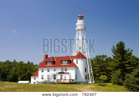 Rawley Point Lighthouse is located in wisconsin on lake michigan, it is 113 feet tall and is the tallest on the lake. Construction is Octagonal Skeletal, it's light can be seen by ships 28 miles out. poster