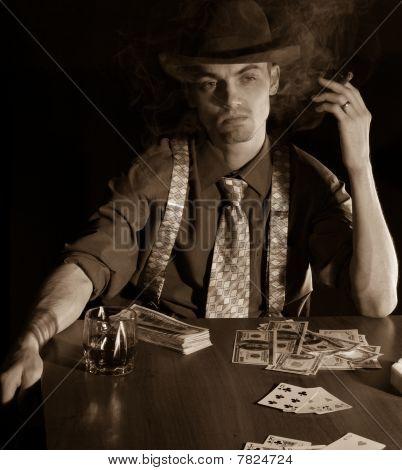 Man Playng Card Game