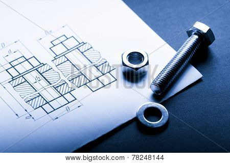 Drafting and screw bolt with nut in closeup poster