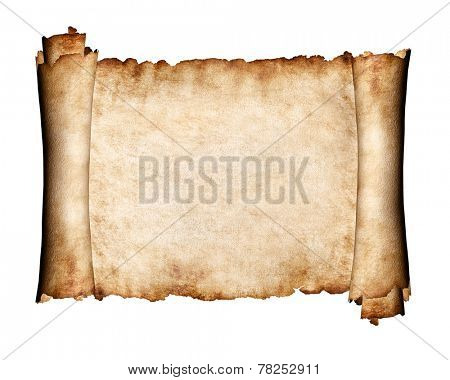 Manuscript, unfolded piece of parchment antique paper grungy texture background