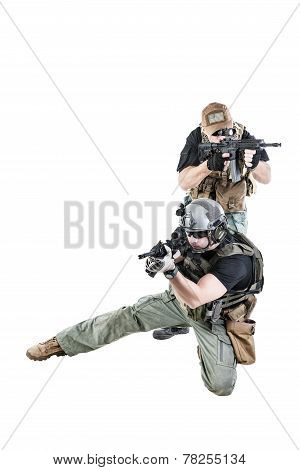 Private military contractors PMC in action on white background poster