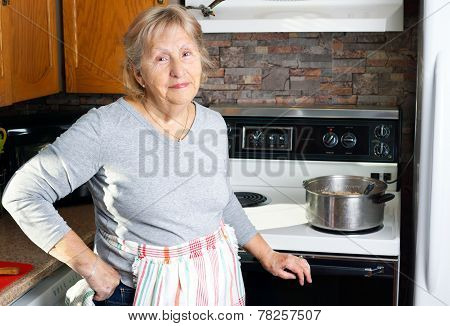 Friendly Grandmother Cooking