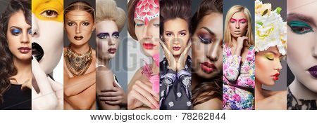 Beauty collage. Faces of women. Fashion photo