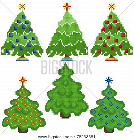 Christmas Trees With Stylish Mosaic Structure