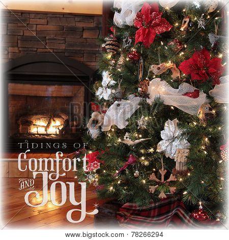 Instgram Of Beautiful Chritsmas Tree And Fireplace