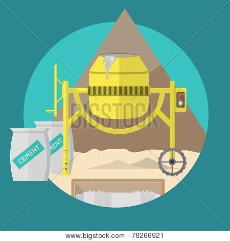 Flat vector illustration for construction site. Concrete mixer