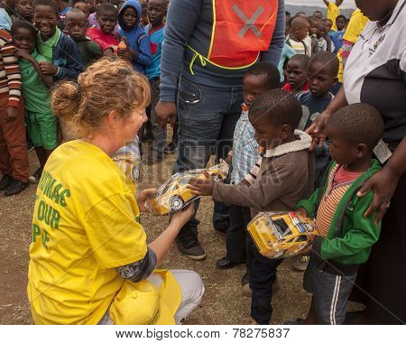 Giving Christmas gifts to the underprivileged in South Africa