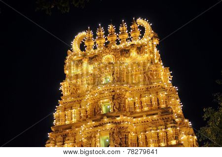 Illuminated Hindu temple in Mysore palace, India