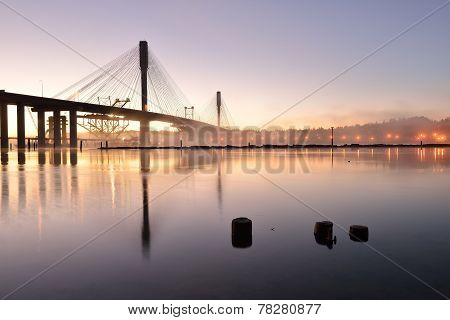 The New Port Mann Bridge At Sunrise