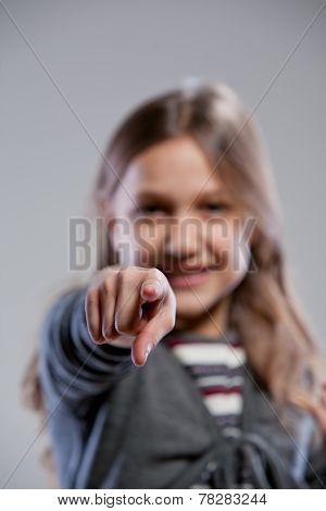 Little Girl Point Ing Out Her Finger