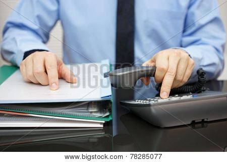 Businessman Is Calling For Support When Received A Lot Of Documentation. Consultant  Is Required