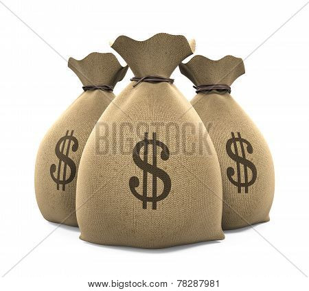 Canvas Money Sack isolated on white background. 3D render poster