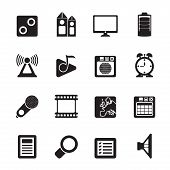 Silhouette Mobile phone  performance, internet and office icons - vector icon set poster
