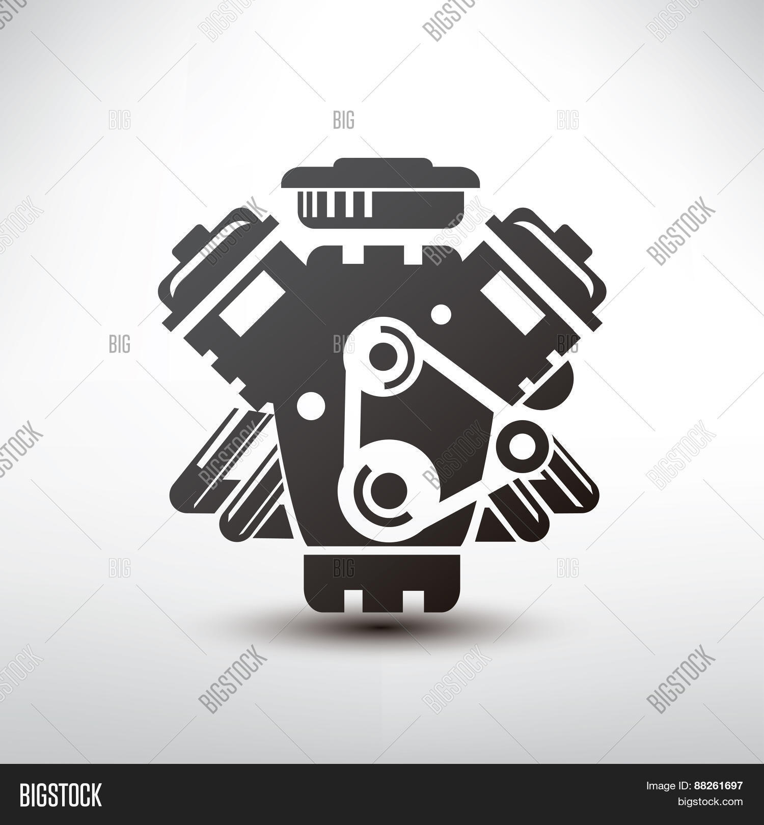 Car Engine Symbol, Stylized Vector Vector & Photo | Bigstock