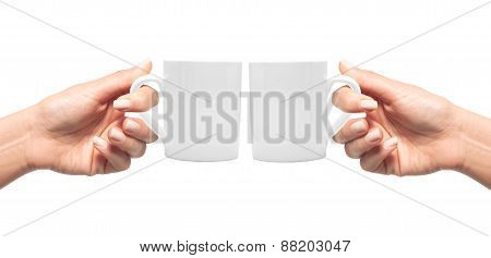 Woman Hands With White Cup Of Coffee Isolated On White