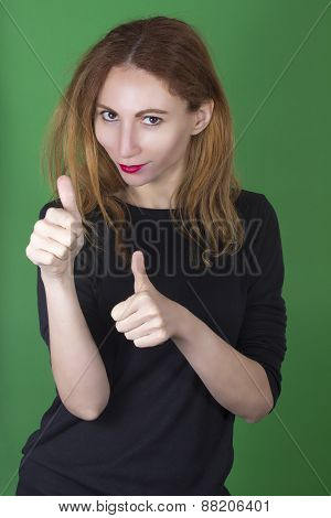 Woman with thumbs up - Like concept
